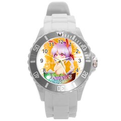 Easter Bunny Girl Round Plastic Sport Watch (l) by Catifornia