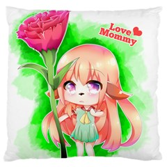 Happy Mother s Day Furry Girl Large Flano Cushion Case (two Sides) by Catifornia