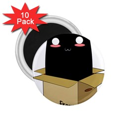 Black Cat In A Box 2 25  Magnets (10 Pack)  by Catifornia