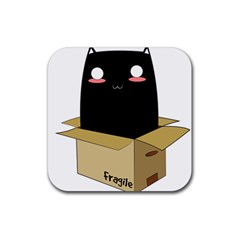 Black Cat In A Box Rubber Coaster (square)  by Catifornia