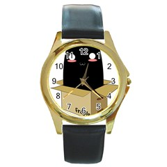Black Cat In A Box Round Gold Metal Watch by Catifornia