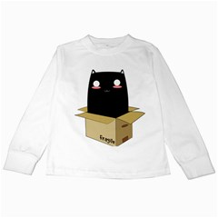 Black Cat In A Box Kids Long Sleeve T Shirts by Catifornia