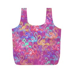 Flamingo Pattern Full Print Recycle Bags (m)  by Valentinaart