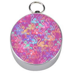 Flamingo Pattern Silver Compasses by Valentinaart