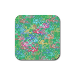 Flamingo Pattern Rubber Coaster (square)  by Valentinaart