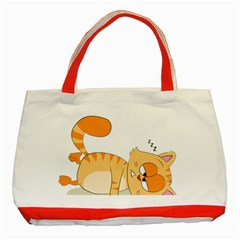 Even Cat Hates Monday Classic Tote Bag (red) by Catifornia