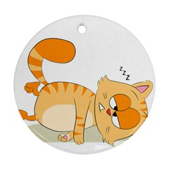 Even Cat Hates Monday Round Ornament (two Sides) by Catifornia