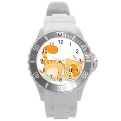 Even Cat Hates Monday Round Plastic Sport Watch (l) by Catifornia