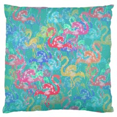 Flamingo Pattern Large Cushion Case (two Sides) by Valentinaart