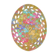 Flamingo Pattern Ornament (oval Filigree) by Valentinaart