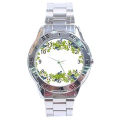 Birthday Card Flowers Daisies Ivy Stainless Steel Analogue Watch