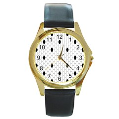 Black White Hexagon Dots Round Gold Metal Watch by Mariart