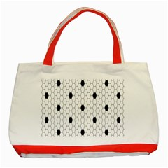 Black White Hexagon Dots Classic Tote Bag (Red) by Mariart