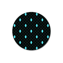 Blue Black Hexagon Dots Magnet 3  (round) by Mariart