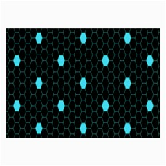 Blue Black Hexagon Dots Large Glasses Cloth by Mariart