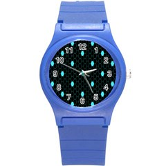 Blue Black Hexagon Dots Round Plastic Sport Watch (s) by Mariart