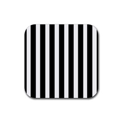 Black White Line Vertical Rubber Square Coaster (4 Pack)  by Mariart