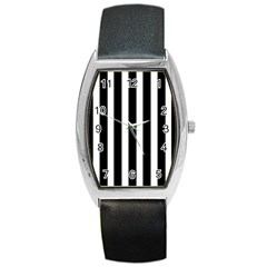 Black White Line Vertical Barrel Style Metal Watch by Mariart