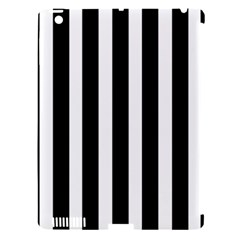 Black White Line Vertical Apple Ipad 3/4 Hardshell Case (compatible With Smart Cover) by Mariart
