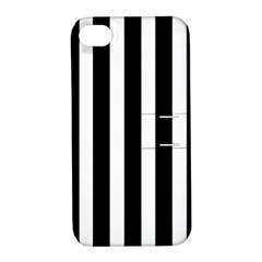 Black White Line Vertical Apple Iphone 4/4s Hardshell Case With Stand by Mariart