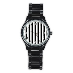Black White Line Vertical Stainless Steel Round Watch by Mariart