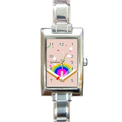 Books Rainboe Lamp Star Pink Rectangle Italian Charm Watch by Mariart