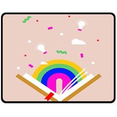 Books Rainboe Lamp Star Pink Double Sided Fleece Blanket (medium)  by Mariart