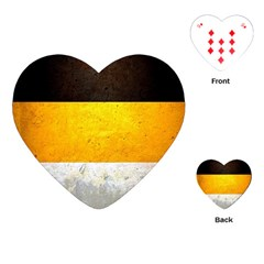 Wooden Board Yellow White Black Playing Cards (heart)  by Mariart