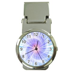 Creation Light Blue White Neon Sun Money Clip Watches by Mariart