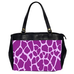 Giraffe Skin Purple Polka Office Handbags (2 Sides)  by Mariart