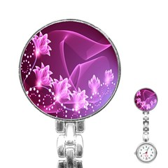 Lotus Sunflower Sakura Flower Floral Pink Purple Polka Leaf Polkadot Waves Wave Chevron Stainless Steel Nurses Watch