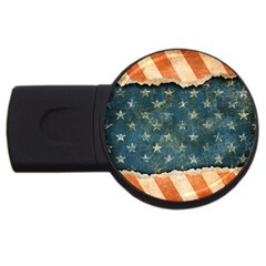Grunge Ripped Paper Usa Flag Usb Flash Drive Round (2 Gb) by Mariart
