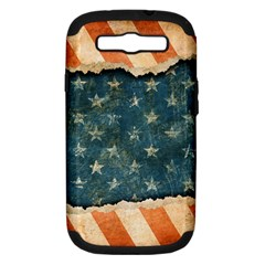 Grunge Ripped Paper Usa Flag Samsung Galaxy S Iii Hardshell Case (pc+silicone) by Mariart