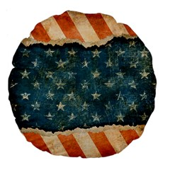 Grunge Ripped Paper Usa Flag Large 18  Premium Flano Round Cushions by Mariart