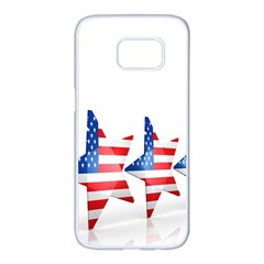 Multiple Us Flag Stars Line Slide Samsung Galaxy S7 Edge White Seamless Case by Mariart