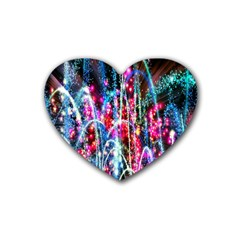 Fireworks Rainbow Rubber Coaster (heart)  by Mariart