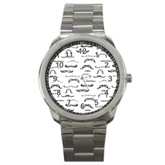 Mustache Man Black Hair Sport Metal Watch by Mariart
