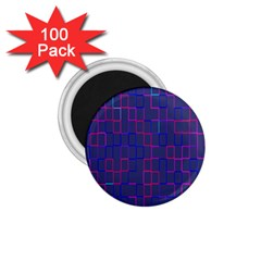 Grid Lines Square Pink Cyan Purple Blue Squares Lines Plaid 1 75  Magnets (100 Pack)  by Mariart