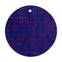 Grid Lines Square Pink Cyan Purple Blue Squares Lines Plaid Round Ornament (two Sides) by Mariart