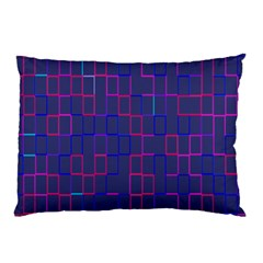 Grid Lines Square Pink Cyan Purple Blue Squares Lines Plaid Pillow Case by Mariart