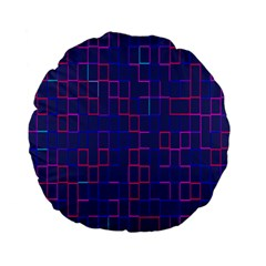 Grid Lines Square Pink Cyan Purple Blue Squares Lines Plaid Standard 15  Premium Flano Round Cushions by Mariart