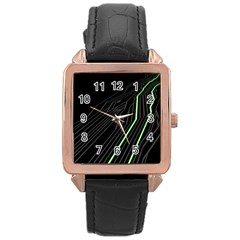 Green Lines Black Anime Arrival Night Light Rose Gold Leather Watch  by Mariart