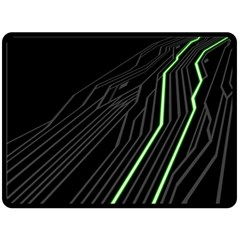 Green Lines Black Anime Arrival Night Light Double Sided Fleece Blanket (large)  by Mariart