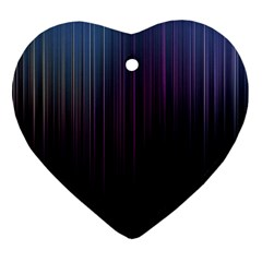 Moonlight Light Line Vertical Blue Black Heart Ornament (two Sides) by Mariart