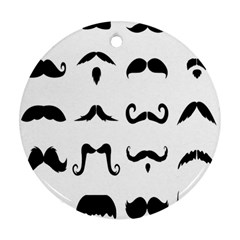 Mustache Man Black Hair Style Ornament (round) by Mariart