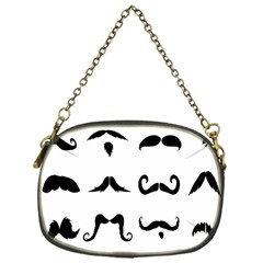 Mustache Man Black Hair Style Chain Purses (one Side)  by Mariart