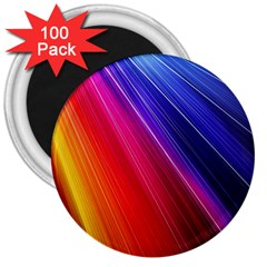 Multicolor Light Beam Line Rainbow Red Blue Orange Gold Purple Pink 3  Magnets (100 Pack) by Mariart