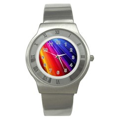 Multicolor Light Beam Line Rainbow Red Blue Orange Gold Purple Pink Stainless Steel Watch by Mariart