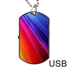 Multicolor Light Beam Line Rainbow Red Blue Orange Gold Purple Pink Dog Tag Usb Flash (two Sides) by Mariart