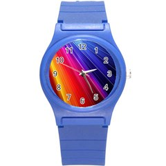 Multicolor Light Beam Line Rainbow Red Blue Orange Gold Purple Pink Round Plastic Sport Watch (s) by Mariart